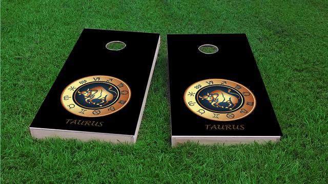 Zodiac Black (Taurus) Themed Custom Cornhole Board Design