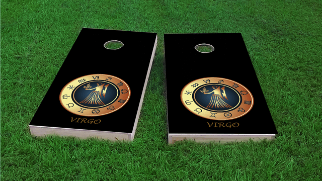 Zodiac Black (Virgo) Themed Custom Cornhole Board Design