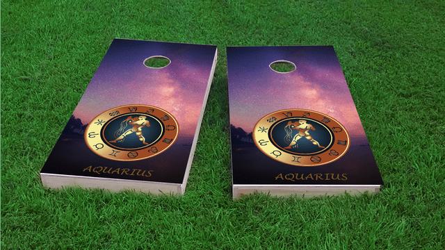 Zodiac Stars (Aquarius) Themed Custom Cornhole Board Design