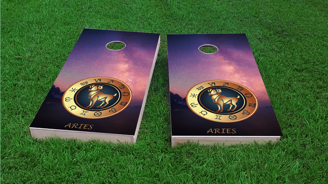 Zodiac Stars (Aries) Themed Custom Cornhole Board Design