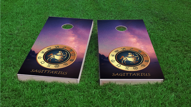 Zodiac Stars (Sagittarius) Themed Custom Cornhole Board Design