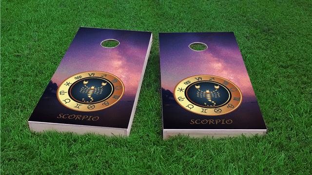 Zodiac Stars (Scorpio) Themed Custom Cornhole Board Design