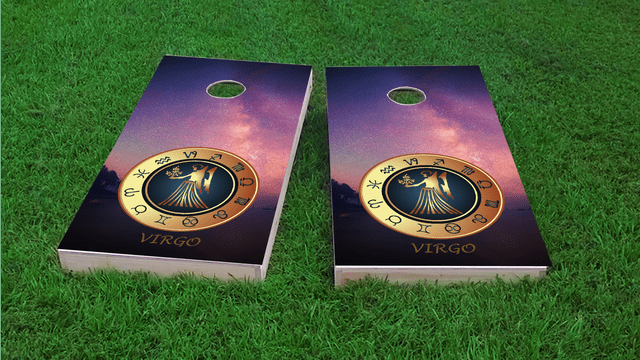 Zodiac Stars (Virgo) Themed Custom Cornhole Board Design