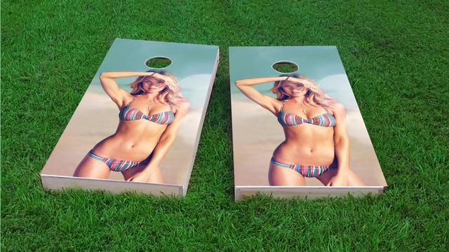 Beach Bikini Model Themed Custom Cornhole Board Design