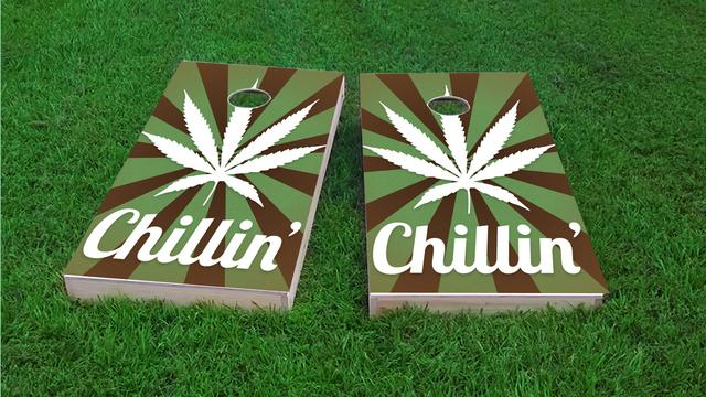 Weed Chillin' Themed Custom Cornhole Board Design