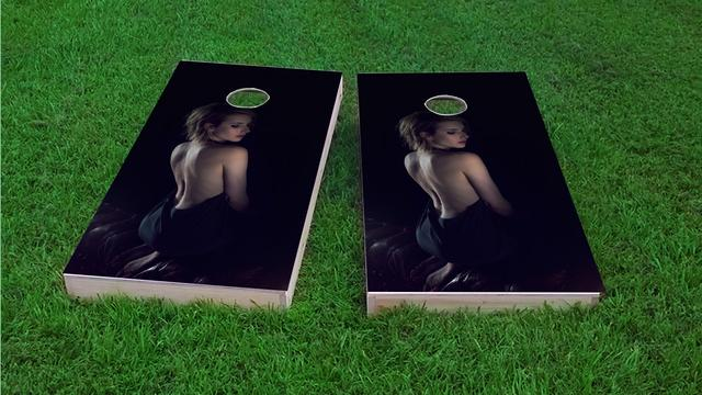Sexy Model in Dress Themed Custom Cornhole Board Design