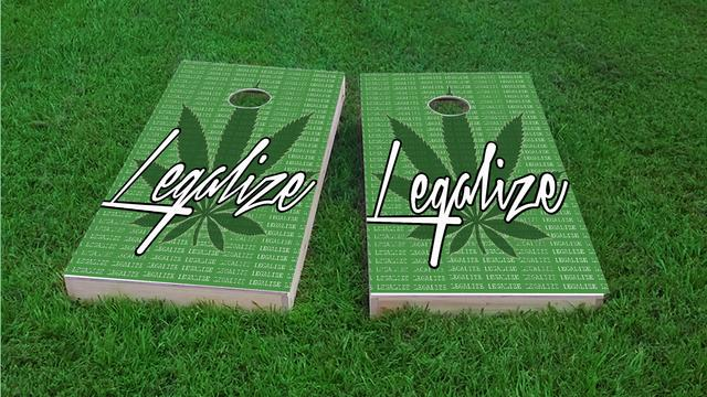 Legalize Marijuana Themed Custom Cornhole Board Design