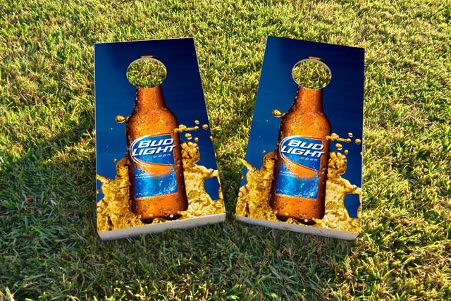 Bud Light Themed Custom Cornhole Board Design