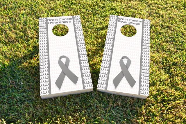 Brain Cancer Awareness Themed Custom Cornhole Board Design