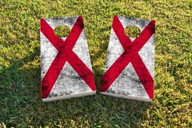 Worn State (Alabama) Flag Themed Custom Cornhole Board Design