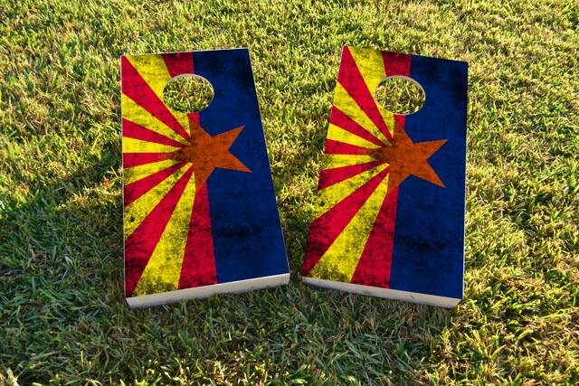 Worn State (Arizona) Flag Themed Custom Cornhole Board Design