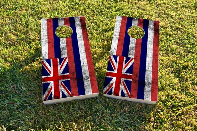 Worn State (Hawaii) Flag Themed Custom Cornhole Board Design