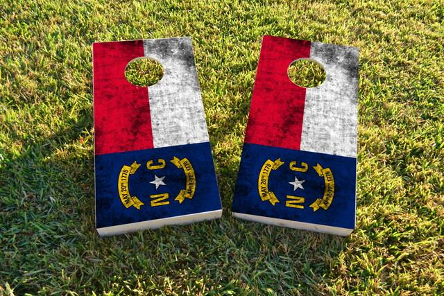 Worn State (North Carolina) Flag Themed Custom Cornhole Board Design