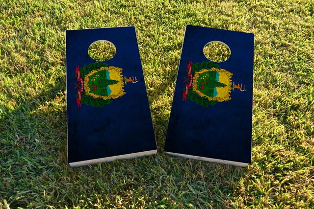 Worn State (Vermont) Flag Themed Custom Cornhole Board Design