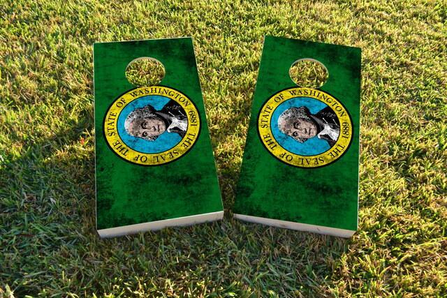 Worn State (Washington) Flag Themed Custom Cornhole Board Design