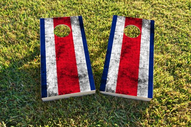 Worn National (Costa Rica) Flag Themed Custom Cornhole Board Design