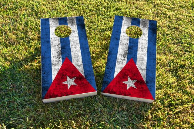 Worn National (Cuba) Flag Themed Custom Cornhole Board Design