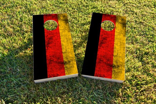 Worn National (Germany) Flag Themed Custom Cornhole Board Design