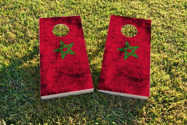 Worn National (Morocco) Flag Themed Custom Cornhole Board Design