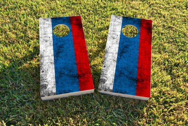 Worn National (Russia) Flag Themed Custom Cornhole Board Design