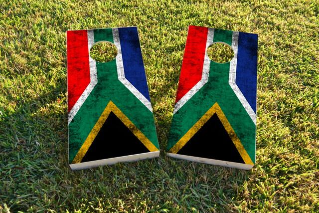 Worn National (South Africa) Flag Themed Custom Cornhole Board Design
