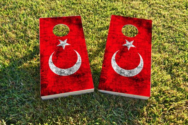 Worn National (Turkey) Flag Themed Custom Cornhole Board Design