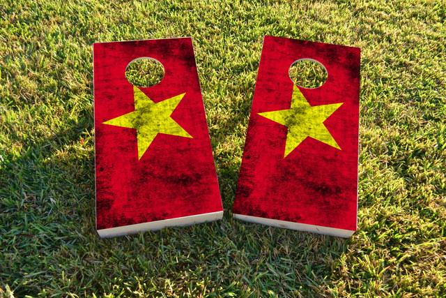 Worn National (Vietnam) Flag Themed Custom Cornhole Board Design