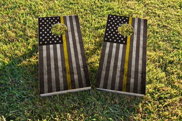 American Thin Gold (Dispatcher) Line Themed Custom Cornhole Board Design