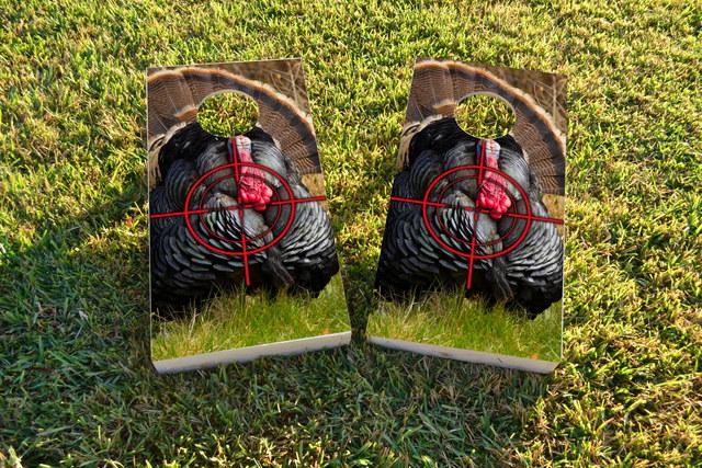 Turkey Hunting #2 Themed Custom Cornhole Board Design