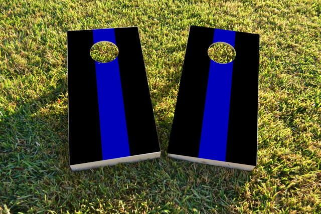 Simple Blue Line Themed Custom Cornhole Board Design
