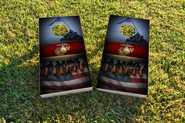 United States Marine Corps American Flag Themed Custom Cornhole Board Design