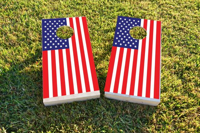 United States of America Flag Themed Custom Cornhole Board Design