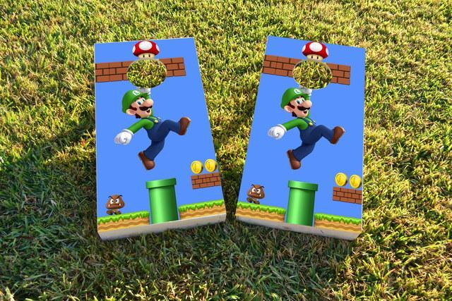 Super Mario Brother - Luigi Themed Custom Cornhole Board Design