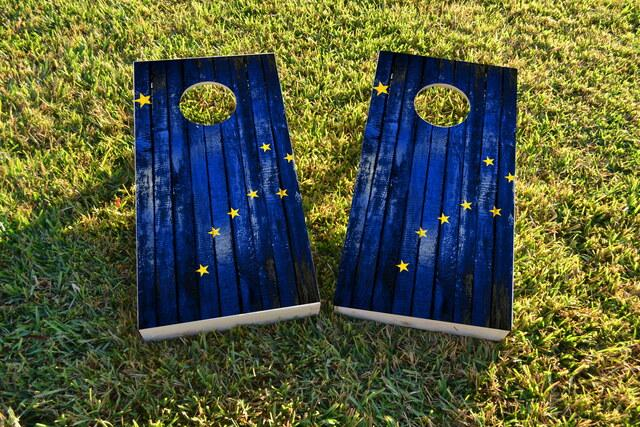 Distressed Wood Flag (Alaska) Themed Custom Cornhole Board Design