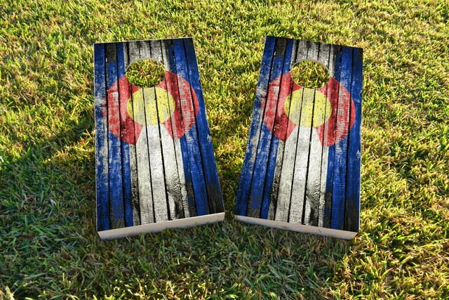 Distressed Wood Flag (Colorado) Themed Custom Cornhole Board Design
