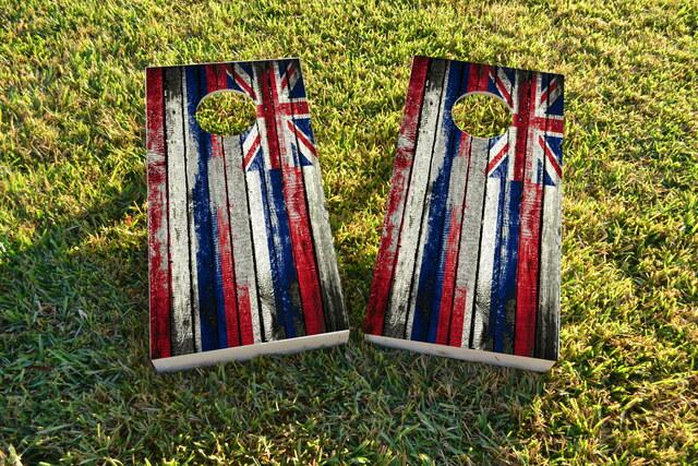 Distressed Wood Flag (Hawaii) Themed Custom Cornhole Board Design