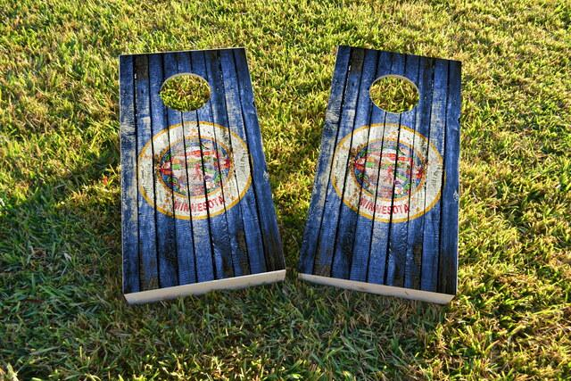 Distressed Wood Flag (Minnesota) Themed Custom Cornhole Board Design