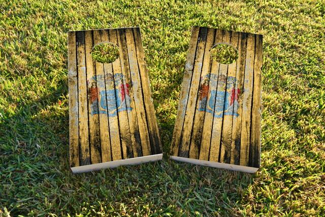 Distressed Wood Flag (New Jersey) Themed Custom Cornhole Board Design
