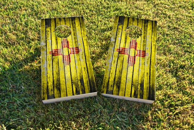 Distressed Wood Flag (New Mexico) Themed Custom Cornhole Board Design