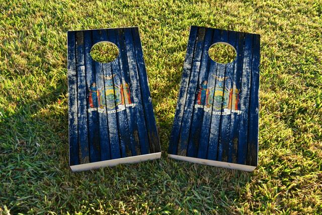 Distressed Wood Flag (New York) Themed Custom Cornhole Board Design