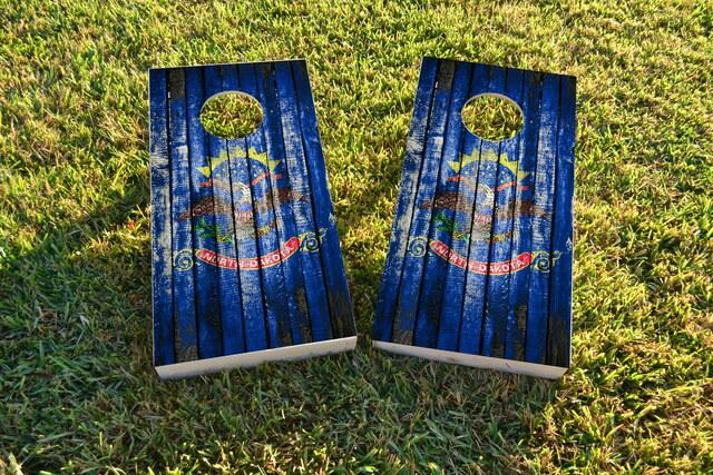 Distressed Wood Flag (North Dakota) Themed Custom Cornhole Board Design