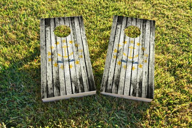 Distressed Wood Flag (Rhode Island) Themed Custom Cornhole Board Design