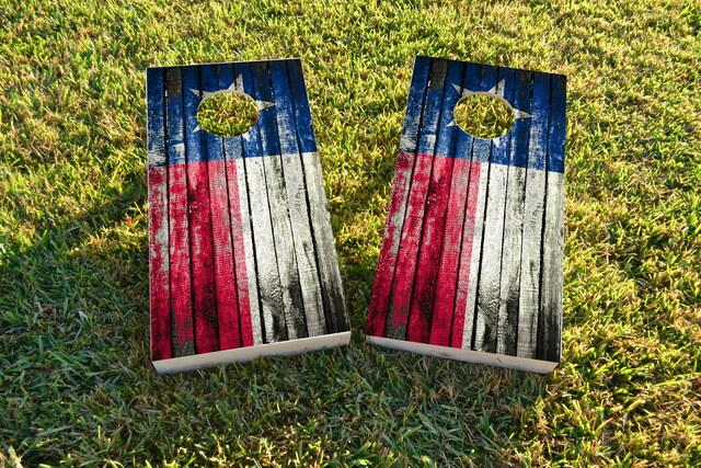 Distressed Wood Flag (Texas) Themed Custom Cornhole Board Design