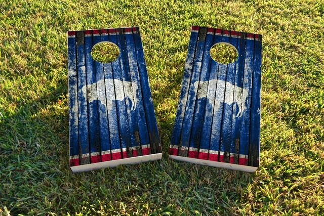 Distressed Wood Flag (Wyoming) Themed Custom Cornhole Board Design