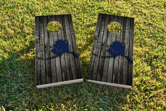 Wood Slate State Flag & Map (Alaska) Themed Custom Cornhole Board Design