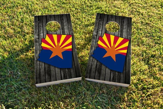 Wood Slate State Flag & Map (Arizona) Themed Custom Cornhole Board Design