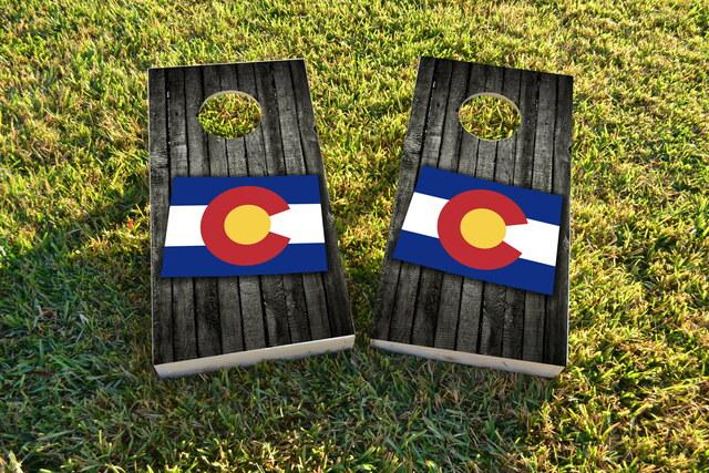Wood Slate State Flag & Map (Colorado) Themed Custom Cornhole Board Design