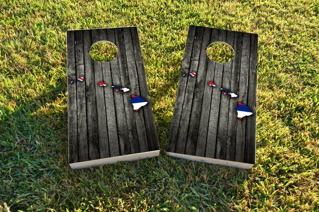Wood Slate State Flag & Map (Hawaii) Themed Custom Cornhole Board Design