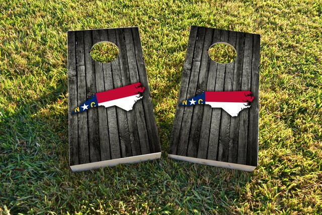 Wood Slate State Flag & Map (North Carolina) Themed Custom Cornhole Board Design