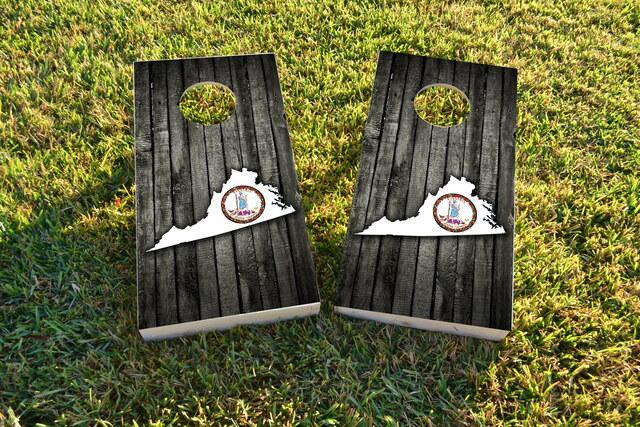 Wood Slate State Flag & Map (Virginia) Themed Custom Cornhole Board Design
